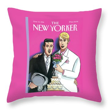 Two Grooms At Their Wedding Infront Throw Pillow
