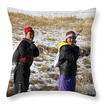 Two Guys Throw Pillow by Diane Height
