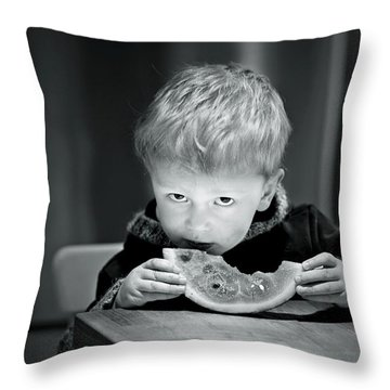 Two Hands And A Slice Of Adorable Throw Pillow by Valerie Rosen