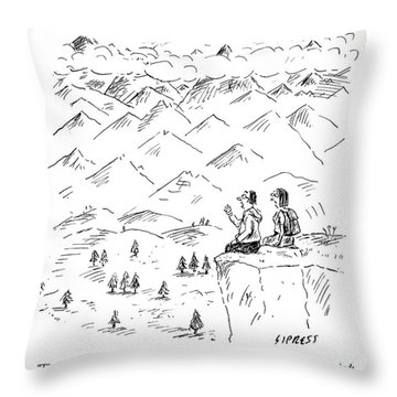 Two Hikers In A Mountainous Area Are Resting. One Throw Pillow