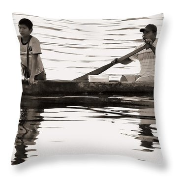 Throw Pillow featuring the photograph Two In Dugout by Britt Runyon