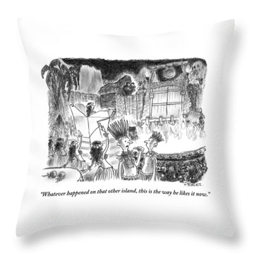 Two Islanders Chat As King Kong Approaches Throw Pillow
