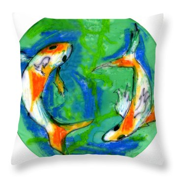 Two Koi Fish Throw Pillow by Genevieve Esson