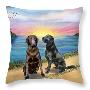 Two Labs At The Lake Throw Pillow by Jean B Fitzgerald