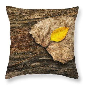 Two Leaves  Throw Pillow
