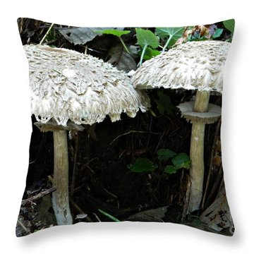 Two Magnificent Toadstools Throw Pillow