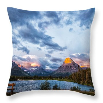 Two Medicine Lake Sunrise Throw Pillow