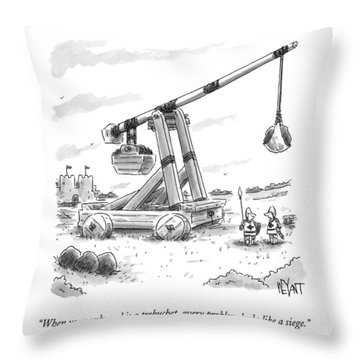Two Medieval Soldiers Stand By Their Catapult Throw Pillow