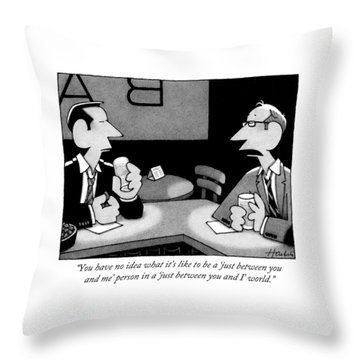 Two Men Are Seen Speaking At A Bar Throw Pillow