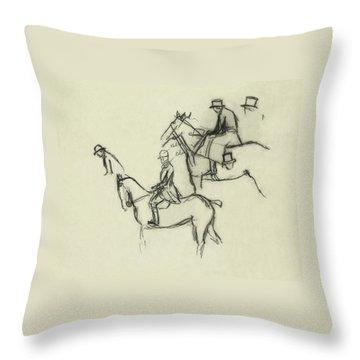 Two Men Horse Riding Throw Pillow