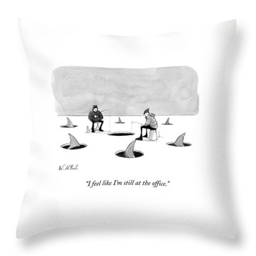 Two Men Ice Fishing Throw Pillow