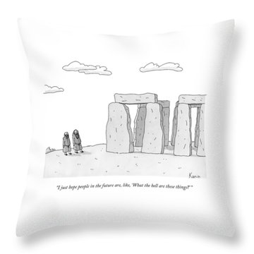 Two Men In Robes Chat Beside Stonehenge Throw Pillow