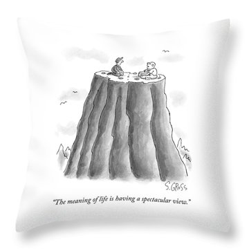 Two Men On Top Of The Plateau Of A Large Mountain Throw Pillow