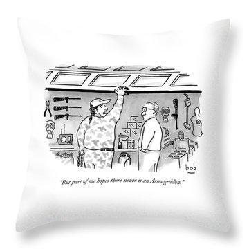 Two Men, One Is Lifting A Garage Door Throw Pillow