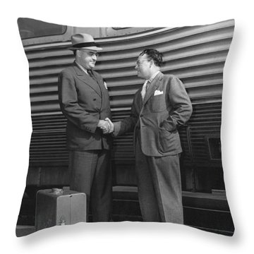 Two Men Shaking Hands At Train Throw Pillow