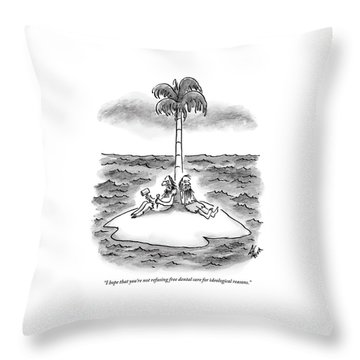 Two Men Sit On A Desert Island. One Holds Throw Pillow