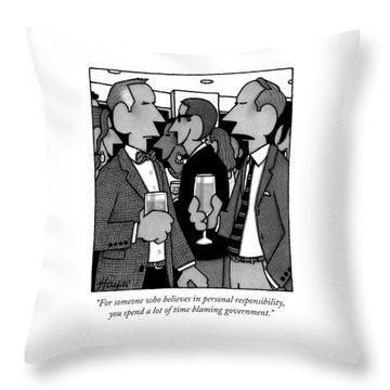 Two Men Speak At A Party Throw Pillow