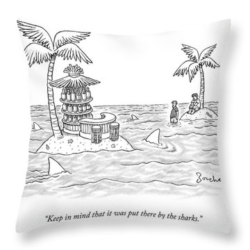 Two Men Stand On A Desert Island Throw Pillow
