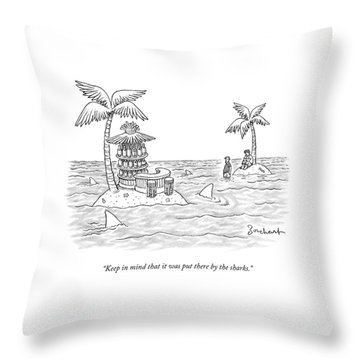 Two Men Stand On A Desert Island Throw Pillow