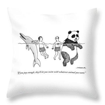 Two Men Swim In The Ocean.  One Man Swims Throw Pillow