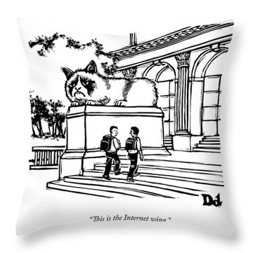 Two Men Walk Into A Library.  There Is An Throw Pillow