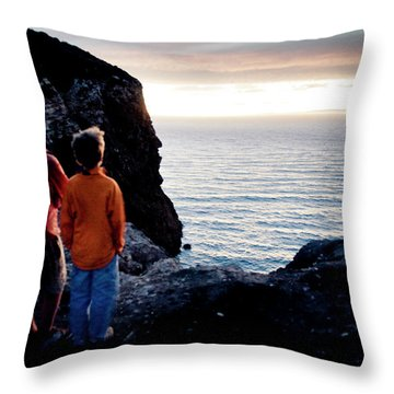 Two Men Watch The Sunset Over The Ocean Throw Pillow