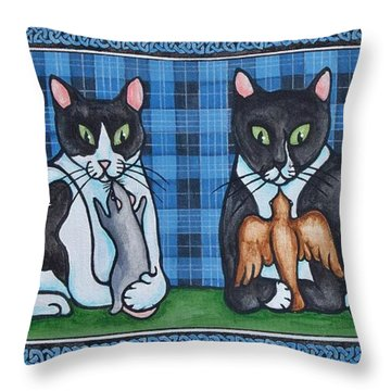 Two Mewses Throw Pillow by Beth Clark-McDonal