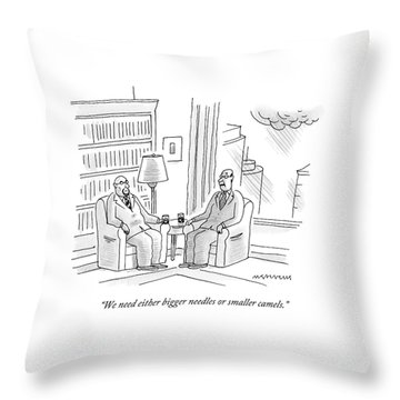 Two Middle Age Men In Suits Talk In An Office Throw Pillow