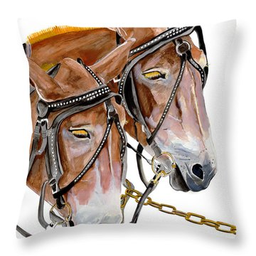 Two Mules - Enhanced Color - Farmer's Friend Throw Pillow