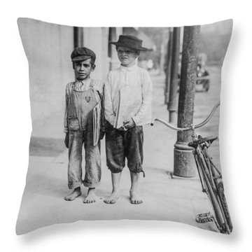 Two Newspaper Boys Throw Pillow