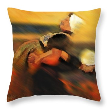 Throw Pillow featuring the digital art Two Noordwijker Women Playing by Nop Briex