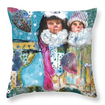 Throw Pillow featuring the mixed media Two Noses by P Maure Bausch