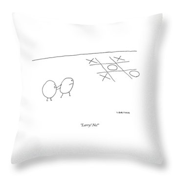 Two O-characters Stand By A Game Of Tic-tac-toe Throw Pillow