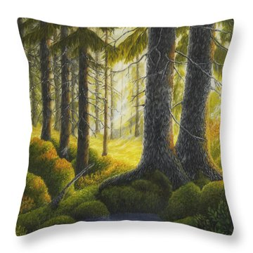 Two Old Spruce Throw Pillow by Veikko Suikkanen