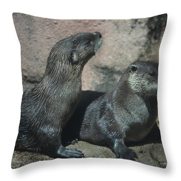 Two Otters Throw Pillow