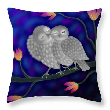 Two Owls Throw Pillow by Latha Gokuldas Panicker