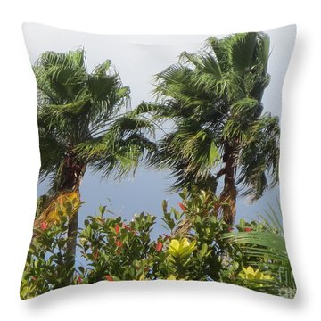 Two Palm Trees In The Wind. Throw Pillow