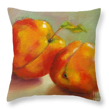 Throw Pillow featuring the painting Two Peaches by Michelle Abrams