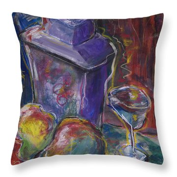 Two Pears And A Purple Jar Throw Pillow