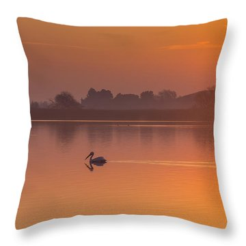 Two Pelicans At Sunrise Throw Pillow by Marc Crumpler