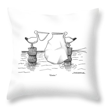 Two Pelicans Converse As The Other's Beak Throw Pillow