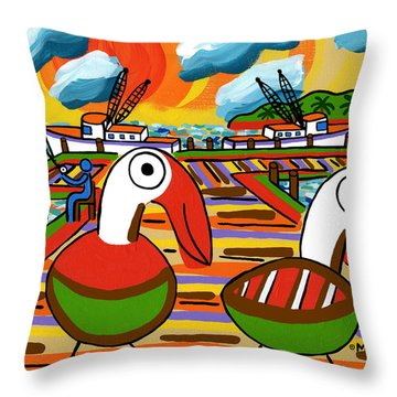 Two Pelicans On The Pier-cedar Key Throw Pillow