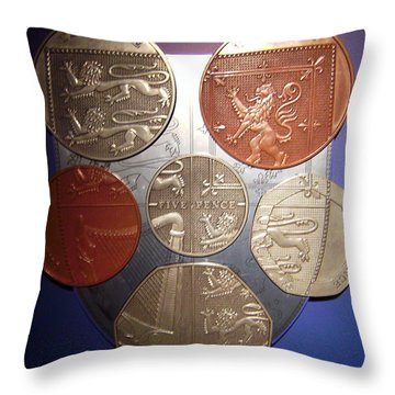 Two Pence Five Pence Ten Pence Throw Pillow