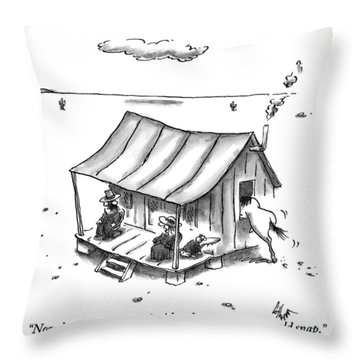 Two People Are Seen Sitting On A Porch Of A Small Throw Pillow