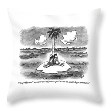 Two People Are Seen Speaking On A Deserted Throw Pillow