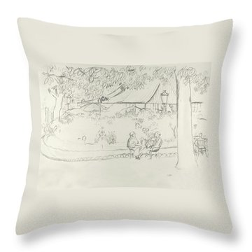 Two People At A Small Park Throw Pillow