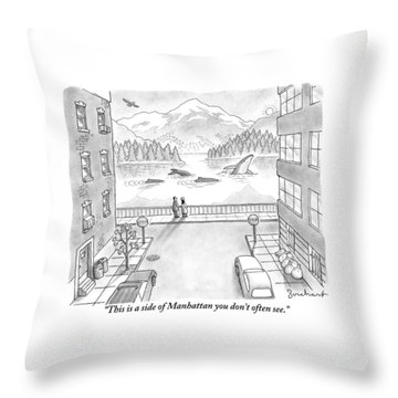Two People In Manhattan Gaze Out At A Spectacular Throw Pillow