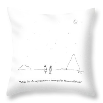 Two People Look At The Stars Throw Pillow
