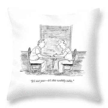 Two People Sit At A Table Throw Pillow