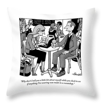 Two People Sitting At A Table Drinking Coffee Throw Pillow